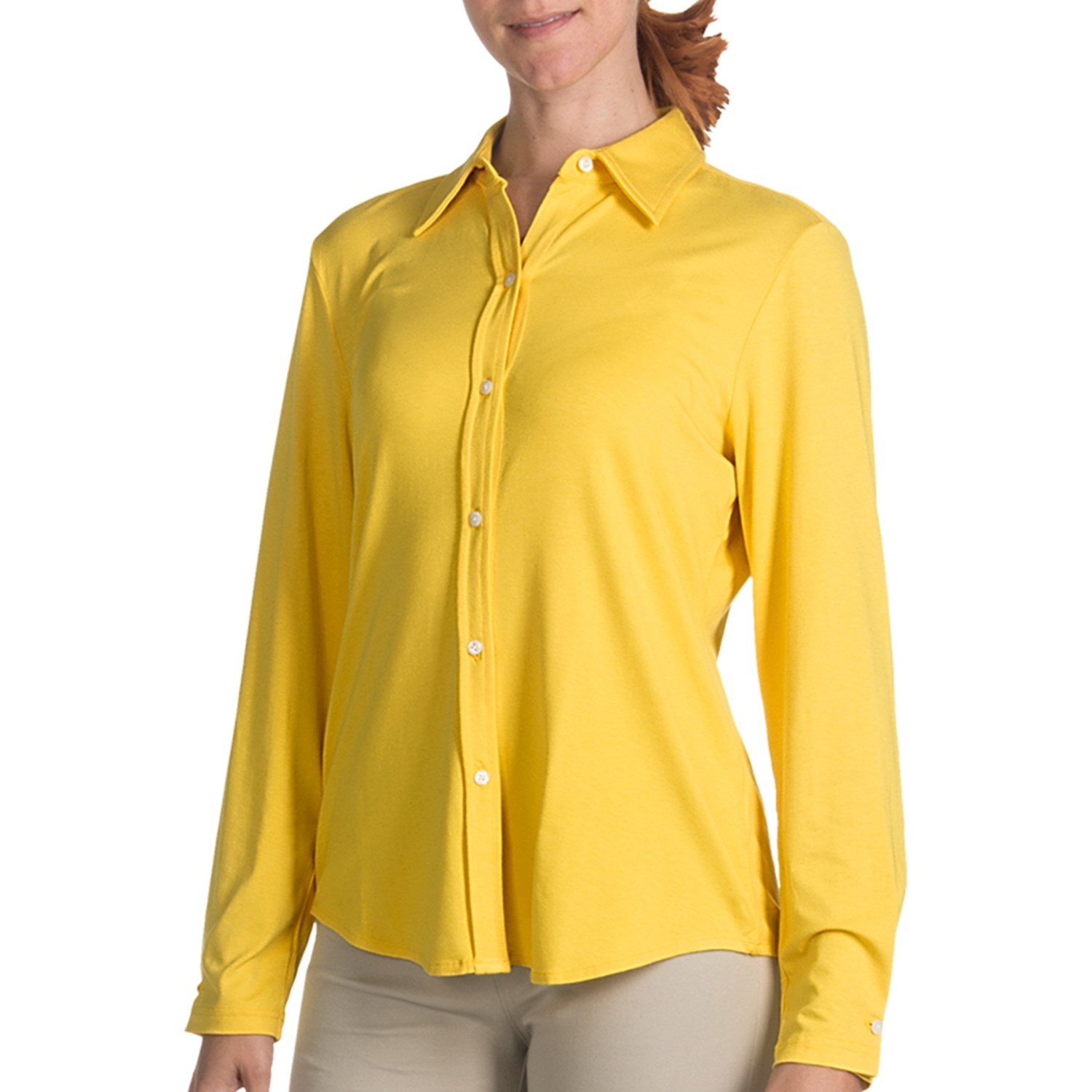 Paperwhite button front knit shirt long sleeve for for Womens yellow long sleeve shirt