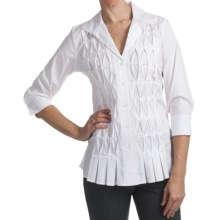 Paperwhite Cotton Blend Tunic Shirt - 3/4 Sleeve (For Women) in White - Closeouts
