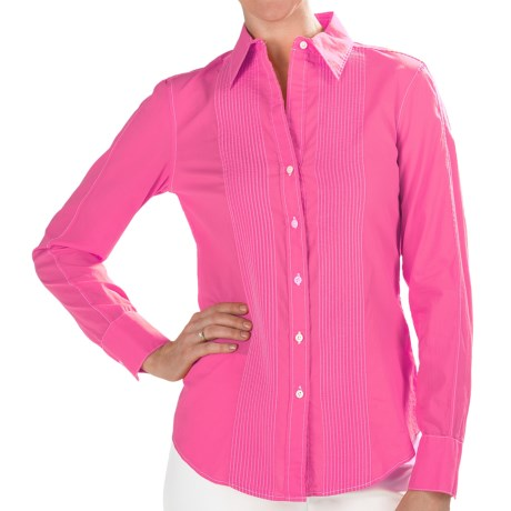 Paperwhite Cotton Pintuck Shirt - Long Sleeve (For Women) in Magenta