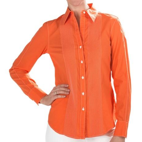 Paperwhite Cotton Pintuck Shirt - Long Sleeve (For Women) in Sunkist