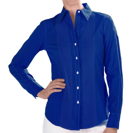 Paperwhite Cotton Pintuck Shirt - Long Sleeve (For Women) in Sunkist