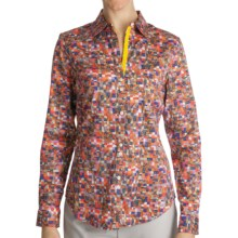 Paperwhite Cotton Print Shirt - Long Sleeve (For Women) in Multi Blocks - Closeouts