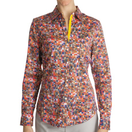 Paperwhite Cotton Print Shirt - Long Sleeve (For Women) in Multi Blocks