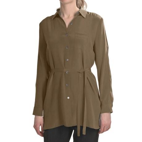 Paperwhite Crepe de Chine Silk Tunic Shirt - Long Sleeve (For Women) in Brass