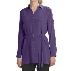 Paperwhite Crepe de Chine Silk Tunic Shirt - Long Sleeve (For Women) in Deep Purple