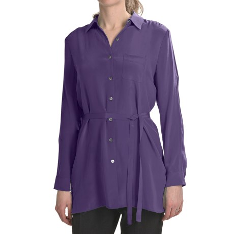 Paperwhite Crepe de Chine Silk Tunic Shirt - Long Sleeve (For Women) in Brass