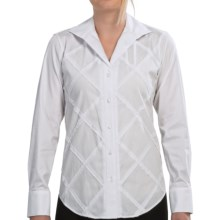 Paperwhite Criss-Cross Applique Shirt - Long Sleeve (For Women) in White - Closeouts
