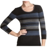 Paperwhite Fitted Stripe Knit Shirt - 3/4 Sleeve (For Women)