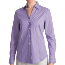 Paperwhite Johnny Collar Shirt - Yarn-Dyed Stripe, Long Sleeve (For Women) in Purple/White - Closeouts