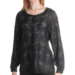 Paperwhite Lace Overlay Plaid Blouse - Long Sleeve (For Women) in Black
