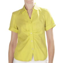Paperwhite Linen Shirt - Short Sleeve (For Women) in Chartreuse - Closeouts
