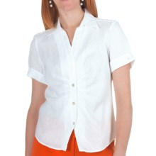 Paperwhite Linen Shirt - Short Sleeve (For Women) in White - Closeouts