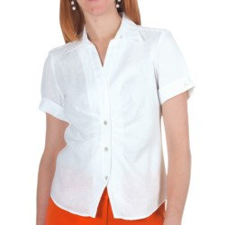 Paperwhite Linen Shirt - Short Sleeve (For Women) in Chartreuse