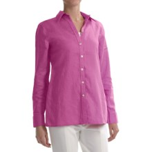 Paperwhite Linen Tunic Shirt - Long Sleeve (For Women) in Candy Pink - Closeouts