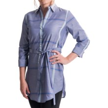 Paperwhite Long Lightweight Tunic Shirt - 3/4 Sleeve (For Women) in Multi - Closeouts