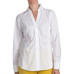 Paperwhite Non-Iron Johnny Collar Shirt - Long Sleeve (For Women) in White