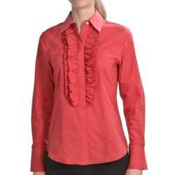 Paperwhite Novelty Tuxedo Shirt - Long Sleeve (For Women) in Berry/Foliage