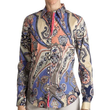 Paperwhite Printed Cotton Shirt - Long Sleeve (For Women) in Multi Paisley