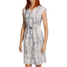 Paperwhite Printed Pintuck Shirt Dress - Cotton-Silk, Short Sleeve (For Women) in White - Closeouts