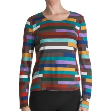 Paperwhite Printed Pullover Fitted Shirt - Long Sleeve (For Women) in Multi Horizontal Colored - Closeouts