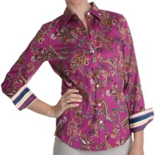 Paperwhite Printed Sateen Shirt - Long Sleeve (For Women) in Multi Stripe Floral - Closeouts