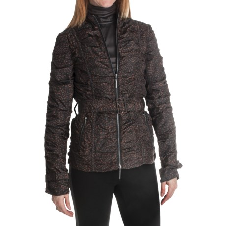 Paperwhite Printed Zip Front Jacket (For Women) in Brown