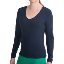 Paperwhite Reversible Scoop to V-Neck Shirt - Long Sleeve (For Women) in Navy - Closeouts