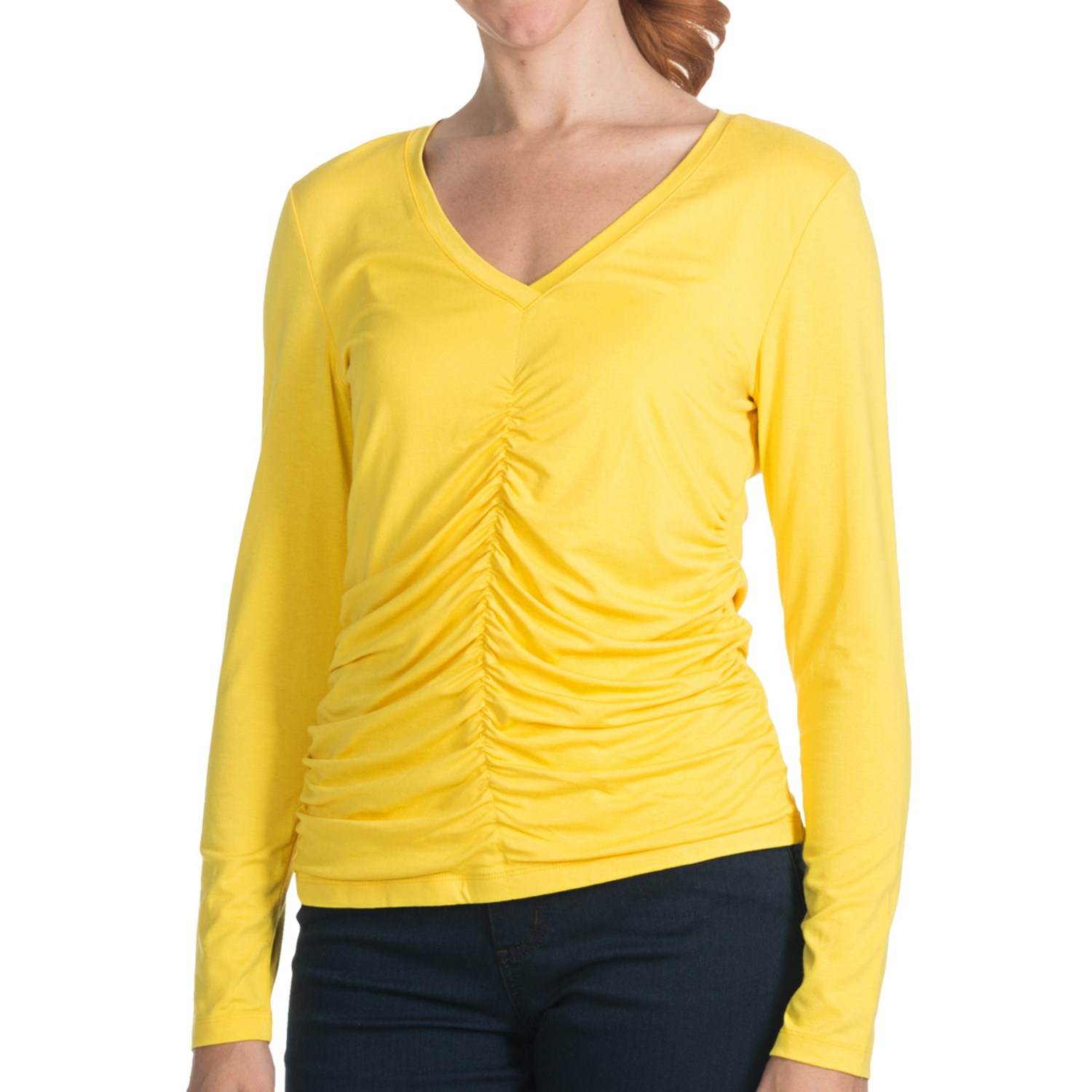 Paperwhite Ruched Knit Shirt V Neck Long Sleeve For