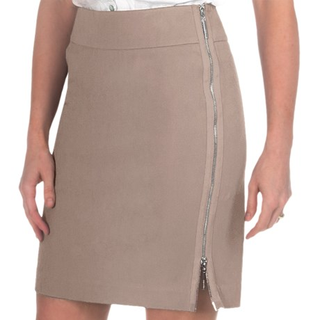 Paperwhite Side Zip Pencil Skirt - Stretch Cotton (For Women) in Taupe