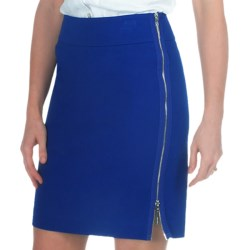 Paperwhite Side Zip Pencil Skirt - Stretch Cotton (For Women) in Sunkist