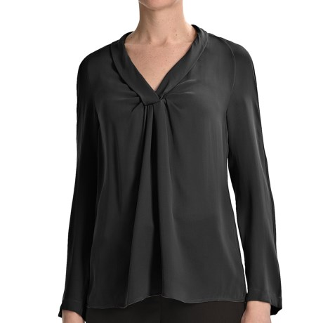 Paperwhite Silk Georgette Shirt - Long Sleeve (For Women) in Black