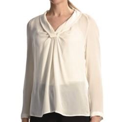 Paperwhite Silk Georgette Shirt - Long Sleeve (For Women) in Eggshell