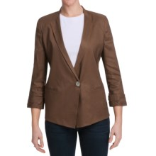 Paperwhite Stretch Linen Blend Jacket - 3/4 Sleeve (For Women) in Cocoa - Closeouts