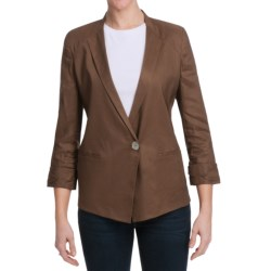 Paperwhite Stretch Linen Blend Jacket - 3/4 Sleeve (For Women) in Cocoa