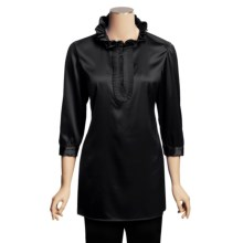 Paperwhite Stretch Silk Tunic Shirt - Ruffle Neck, 3/4 Sleeve (For Women) in Black - Closeouts