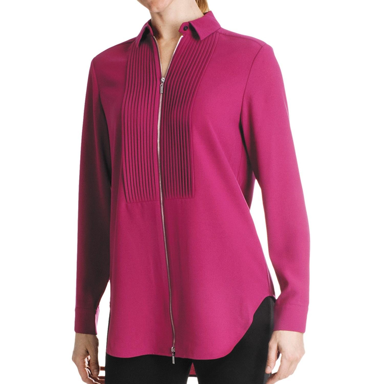 Paperwhite Tuxedo Zip Front Shirt Long Sleeve For Women