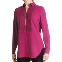 Paperwhite Tuxedo Zip-Front Shirt - Long Sleeve (For Women) in Wildberry - Closeouts