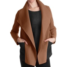 Paperwhite Waterfall Drape Front Jacket (For Women) in Camel - Closeouts