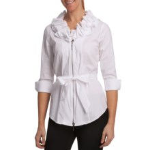 Paperwhite Zip Sleeve Shirt Jacket - Full Zip, 3/4 Sleeve (For Women) in White - Closeouts