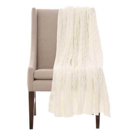 "Papier & Chaud Luxury Cable-Knit Throw Blanket - 50x60"" in Cloud Dancer - Closeouts"
