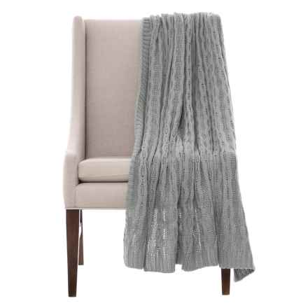 "Papier & Chaud Luxury Cable-Knit Throw Blanket - 50x60"" in Slate - Closeouts"