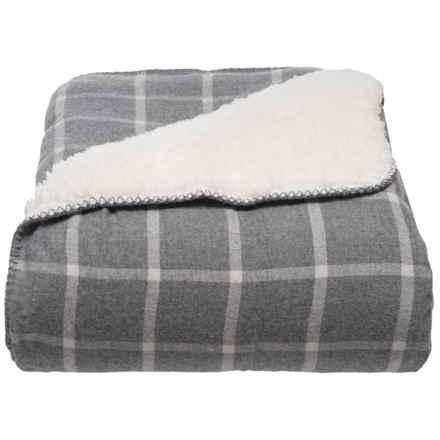 Papier & Chaud Yarn-Dyed Cotton Windowpane Berber Blanket - Full-Queen, Grey in Grey Windowpane - Closeouts