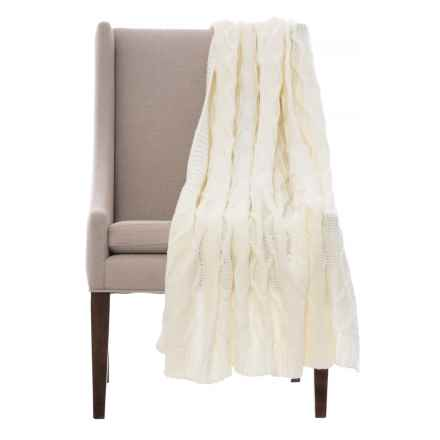"""Papier Luxury Braided Knit Throw Blanket - 50x60"""" in Cloud Dancer - Closeouts"""
