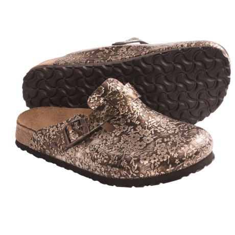 Papillio by Birkenstock Boston Floral Clogs - Leather (For Women) in Pepe Bronze