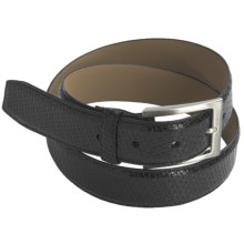 Paradise Blue Embossed Weave Leather Belt with Tarnished Silver Buckle (For Men) in Black - Closeouts