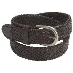 Paradise Blue Woven Leather Belt (For Men) in Dark Brown