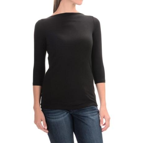 Paraphrase Boat Neck Shirt - Modal, 3/4 Sleeve (For Women) in Black