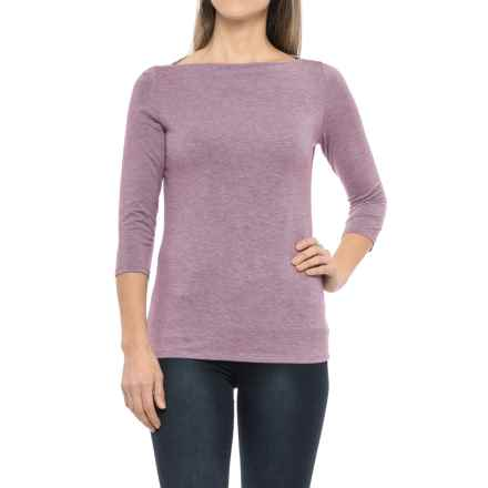 Paraphrase Boat Neck Shirt - Modal, 3/4 Sleeve (For Women) in Purple Heather - Closeouts