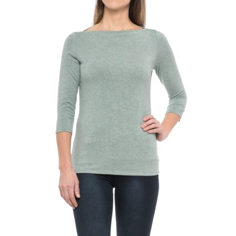 Paraphrase Boat Neck Shirt - Modal, 3/4 Sleeve (For Women)