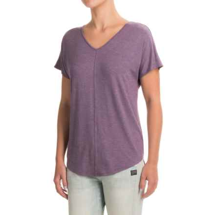 Paraphrase Double V-Neck Shirt - Modal, Short Sleeve (For Women) in Dark Purple Heather - Closeouts